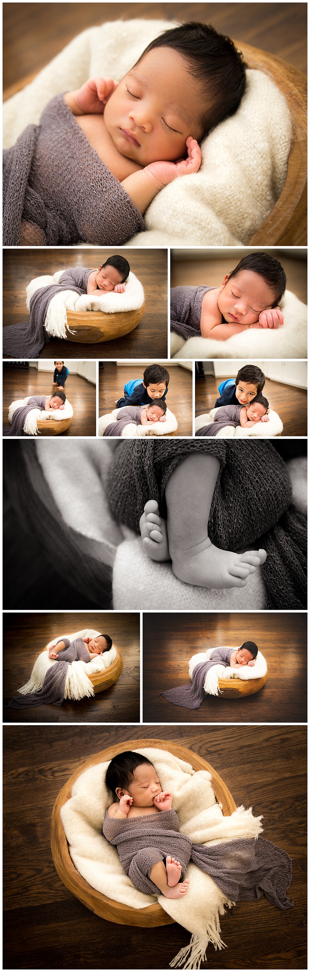 posed newborn in natural colors and wood bowl