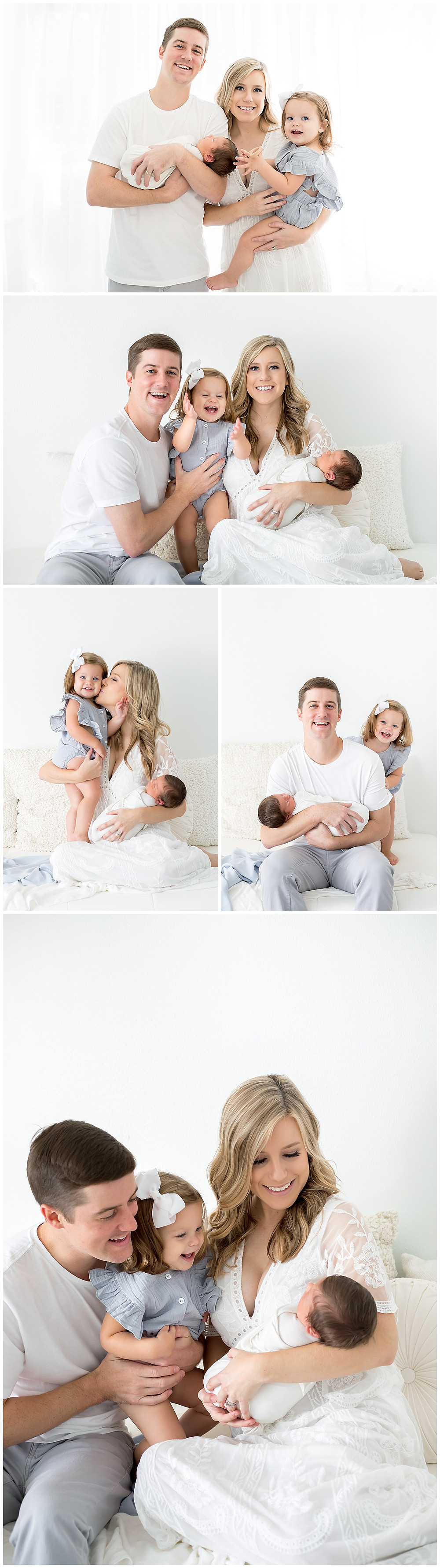 family portraits in studio with newborn baby