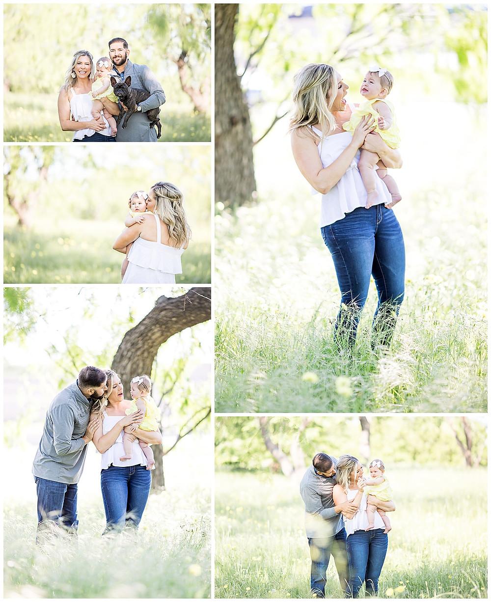 family photos in open field near Houston, Texas