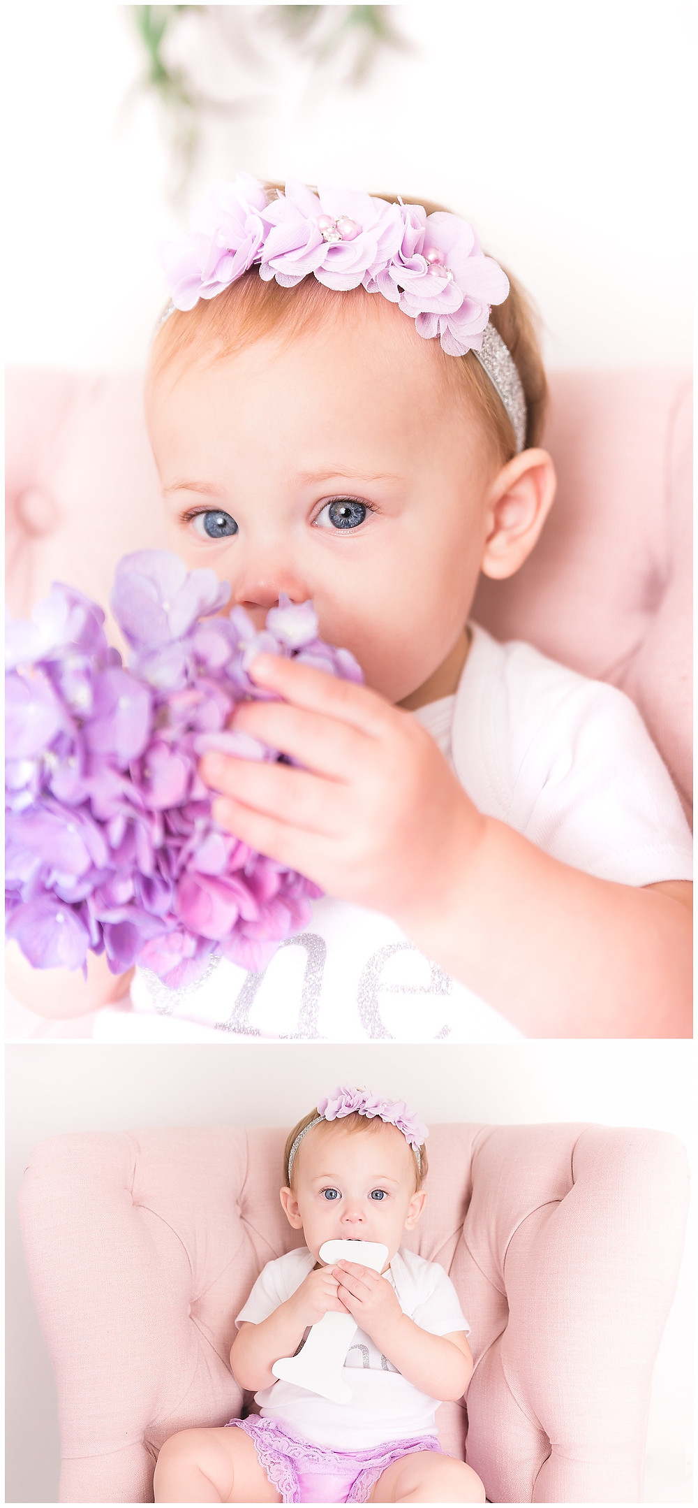 baby photo session in lavender and pink