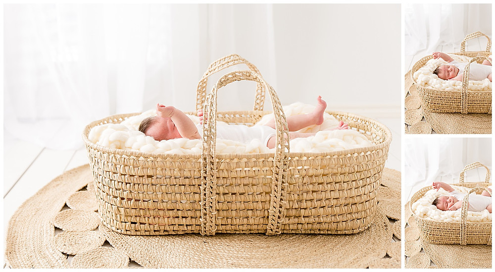 photos of baby in Moses basket