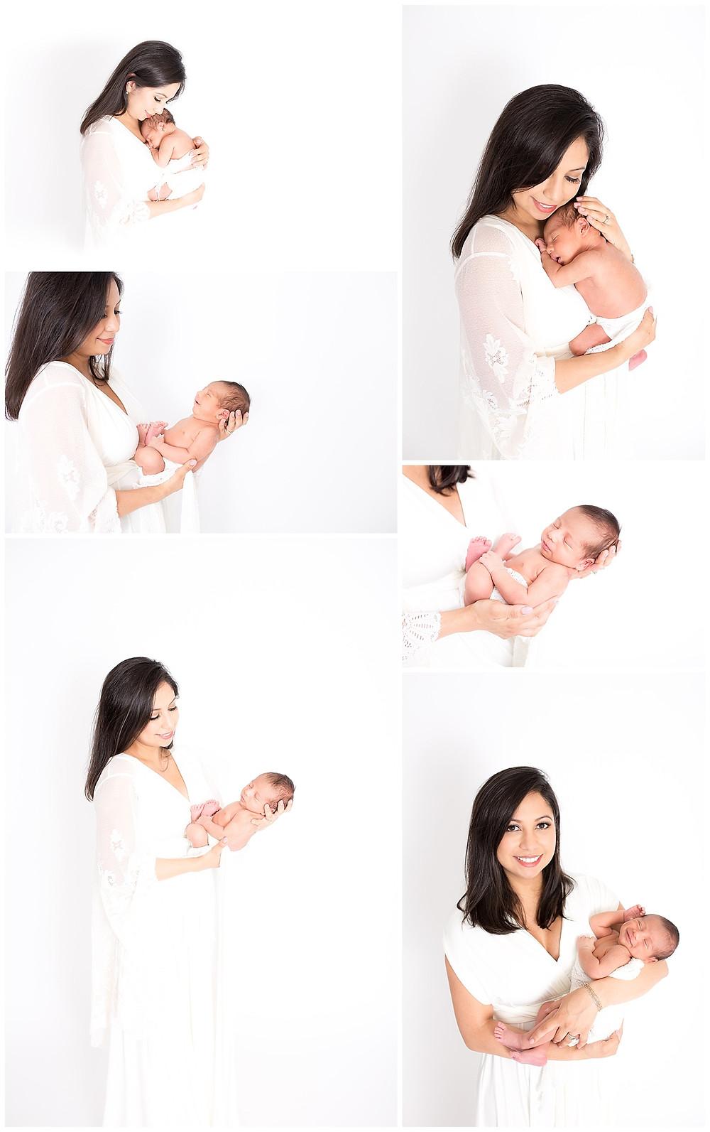 Dallas Newborn Photographers, Lexi Meadows Photography, mom and newborn, white newborn session, white maternity clothing