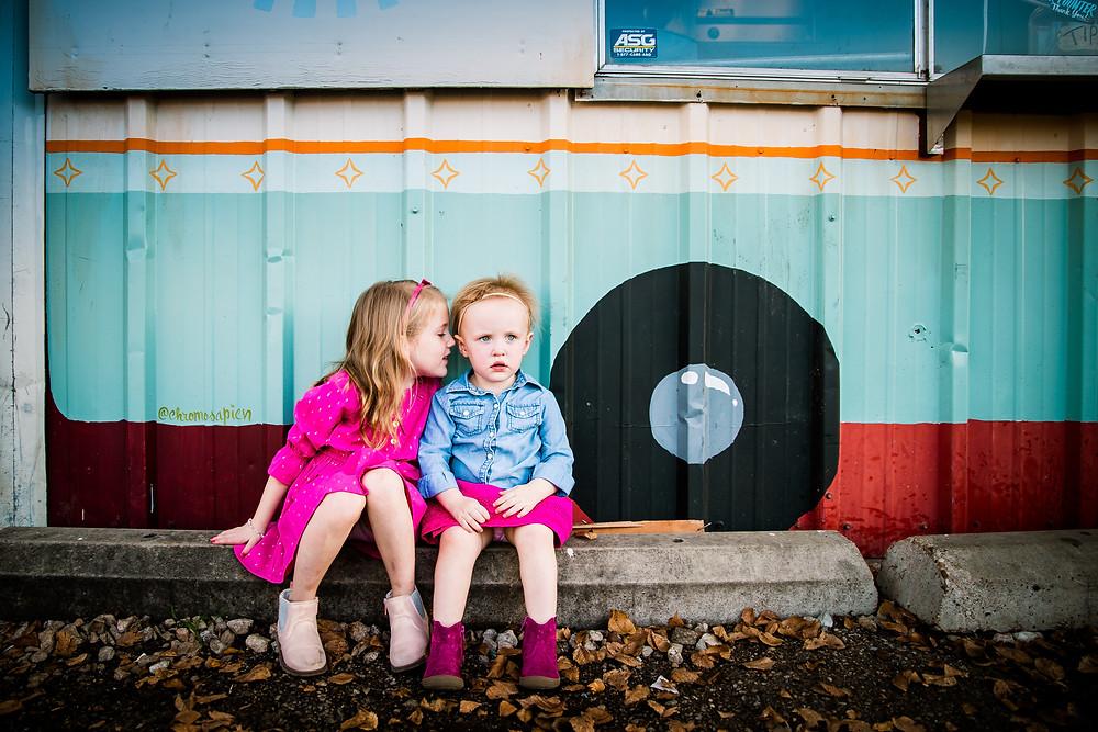 ice cream truck sibling photo