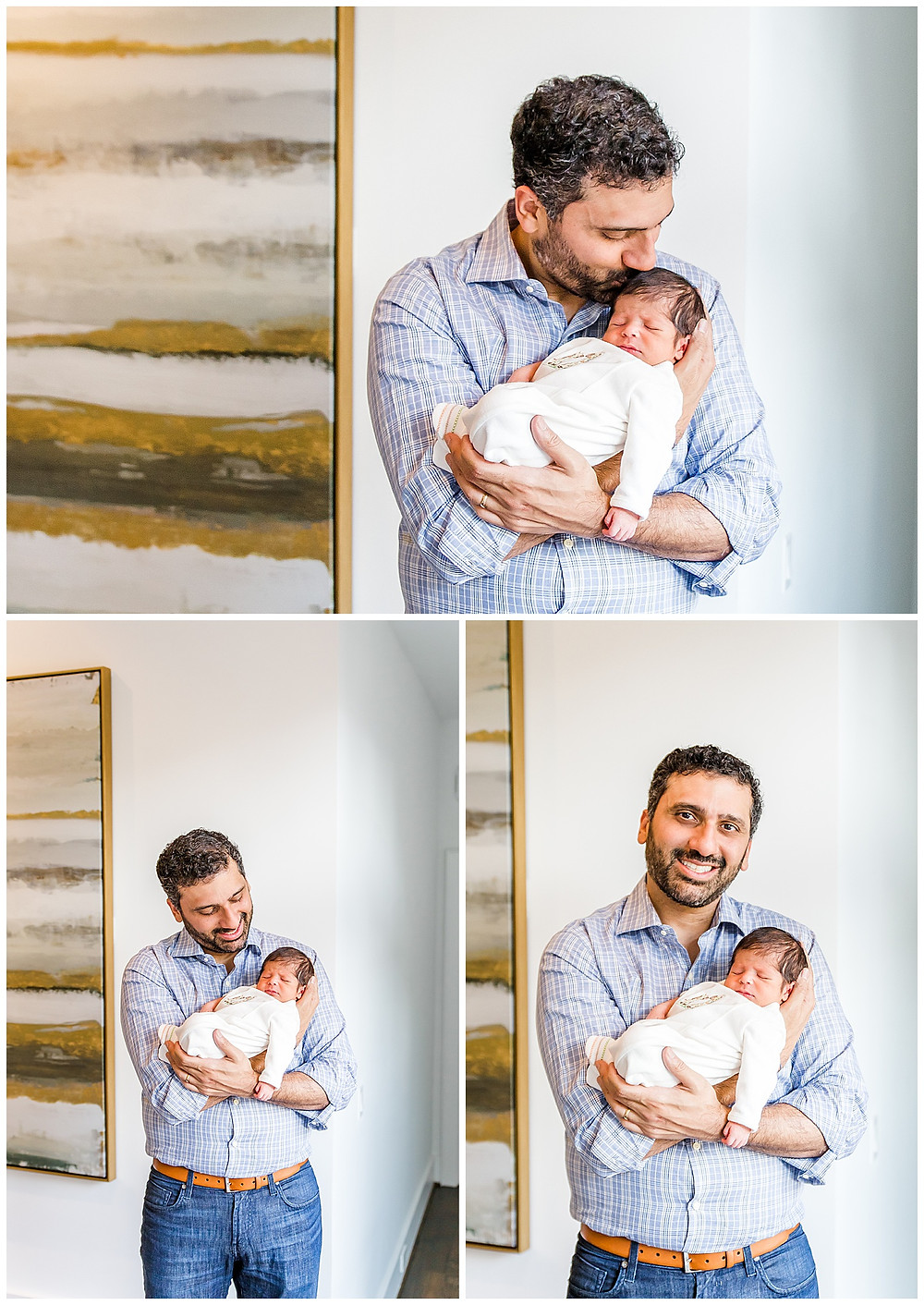 father and son newborn photography