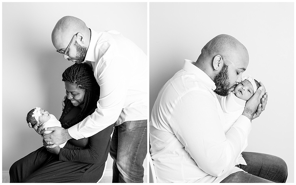 newborn family photos in black and white