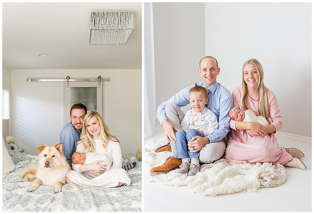 studio family portrait compared to lifestyle family portrait