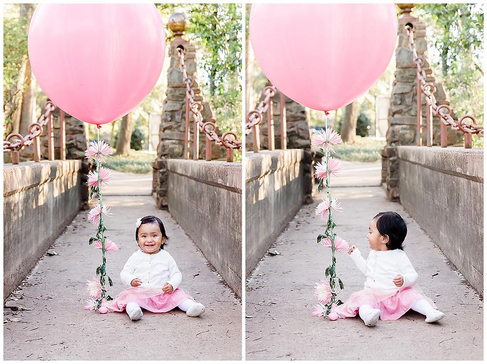 cute milestone session idea with balloon