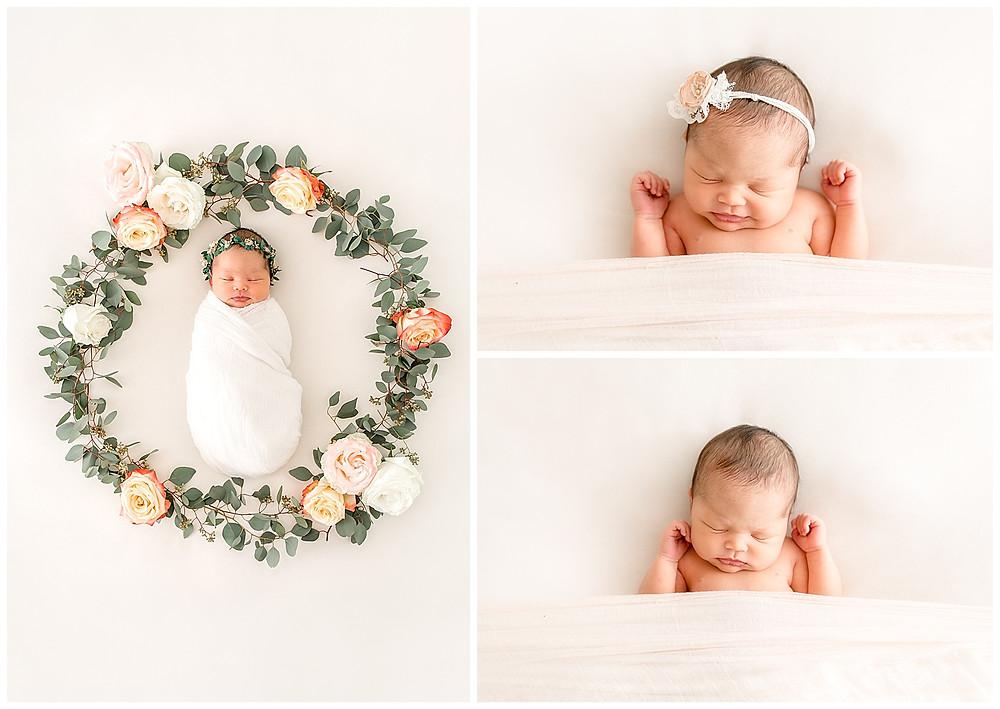 newborn photos with florals