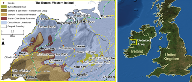 Map showing where the Burren is in Ireland
