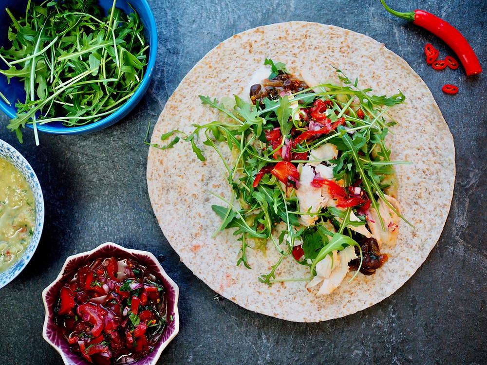 Sugar free hot chicken burrito