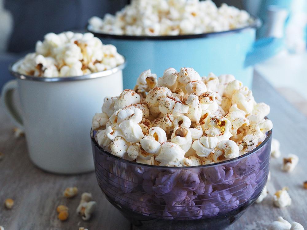 Bowls full of savoury popcorn