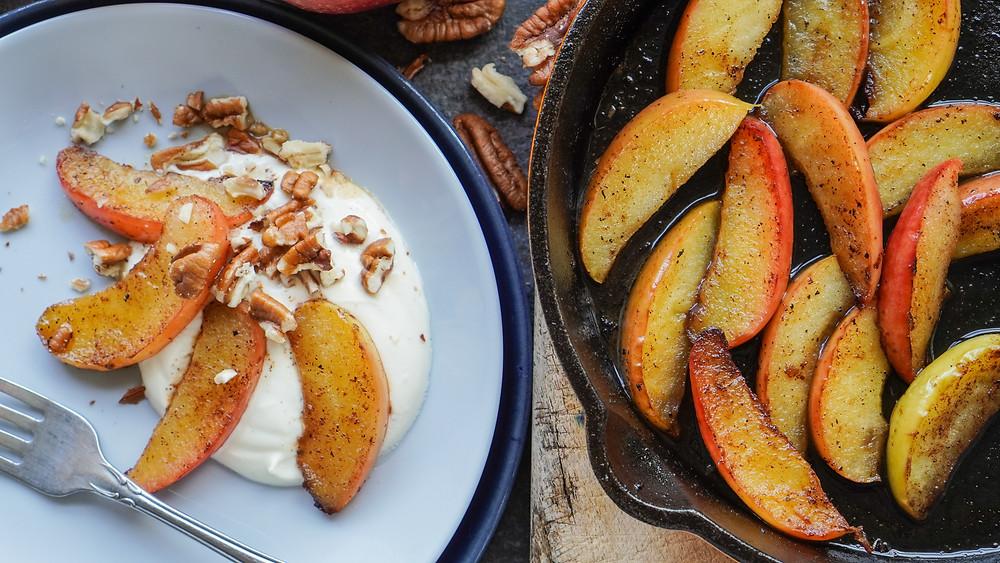 Buttery Apples & Whipped Vanilla Cream closeup