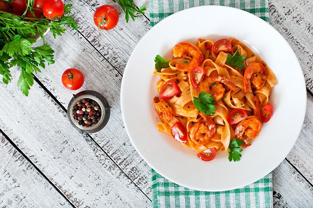 Tomato and prawn pasta