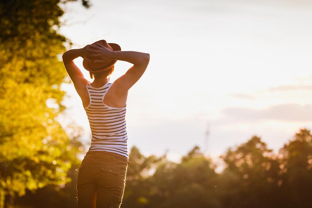 A woman enjoying the sunshine
