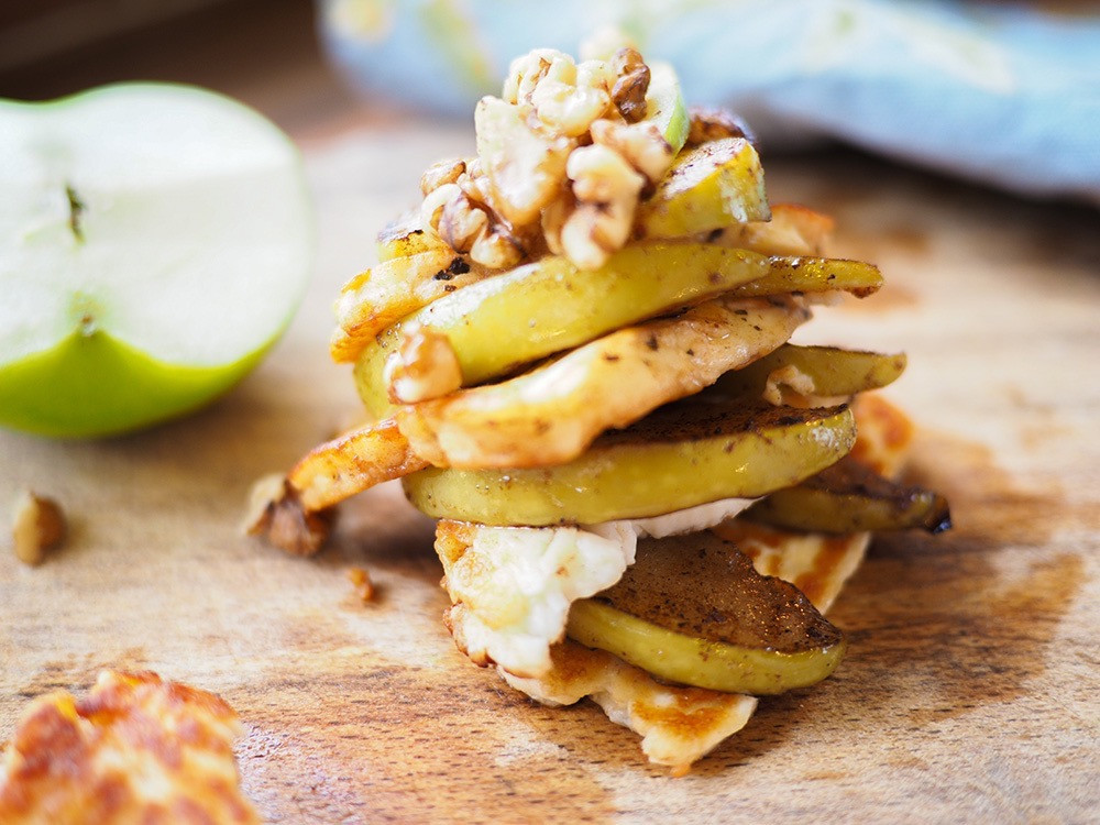 Apple and haloumi stack