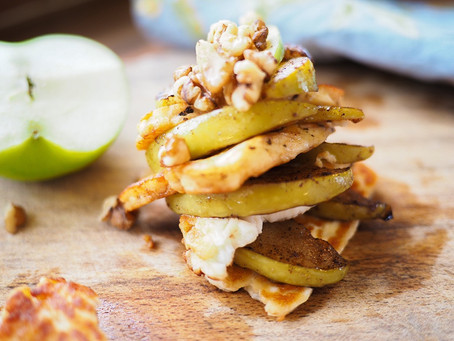 Buttery Apple and Halloumi Stack