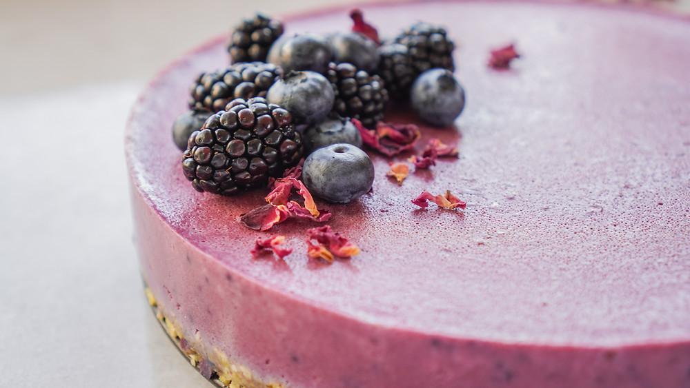 Sugar Free Vegan Berry Cheesecake closeup