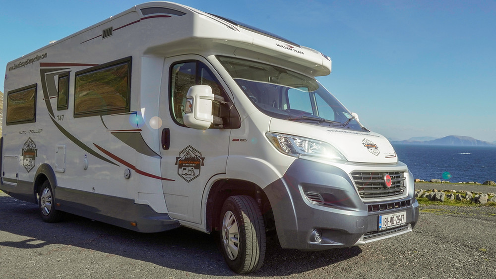 A rental campervan motorhome from Great Escape Camper Hire, Ireland.