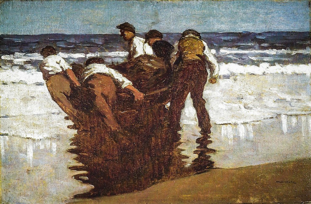 Paul Henry's painting 'Launching The Currach'