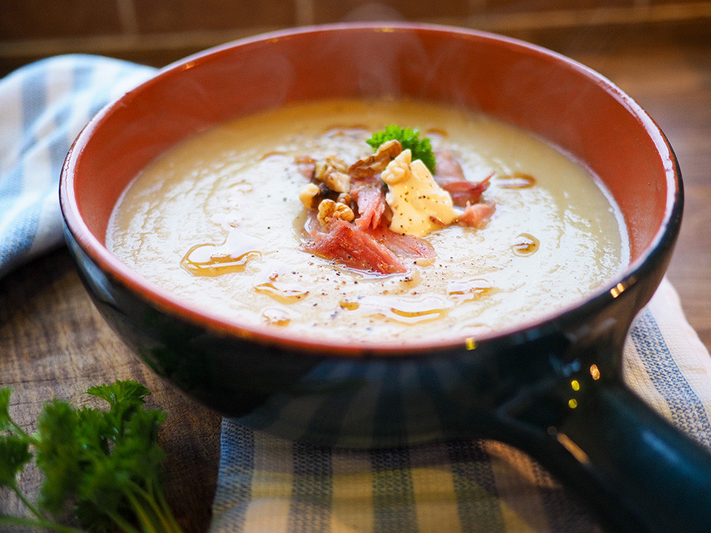 Parsnip and bacon soup