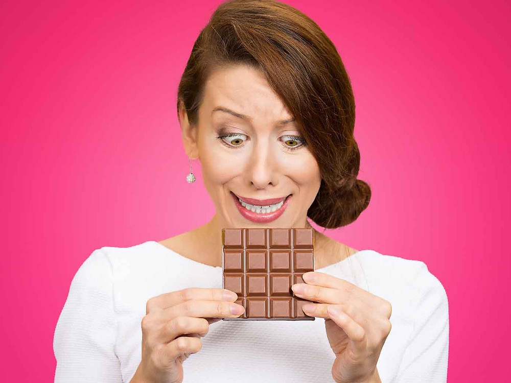 Woman craving chocolate