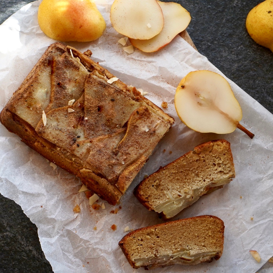 Upside Down Spiced Pear & Almond Cake