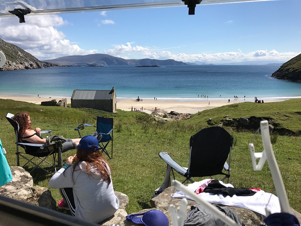 View of Keem Bay from a camper
