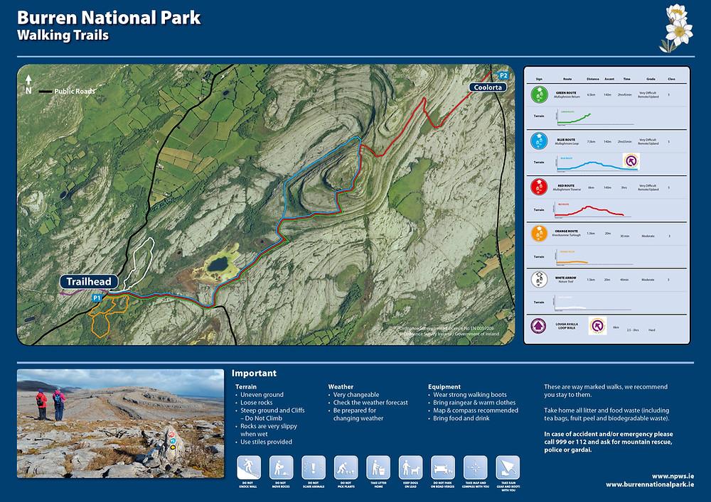 The Burren National Park Walking Trails Map