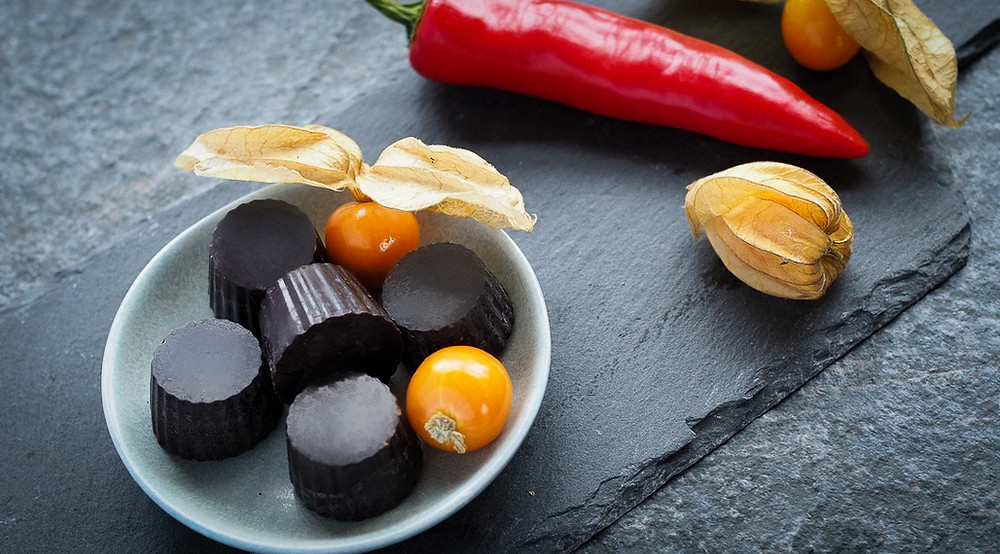 Pieces of sugarfree chilli chocolate