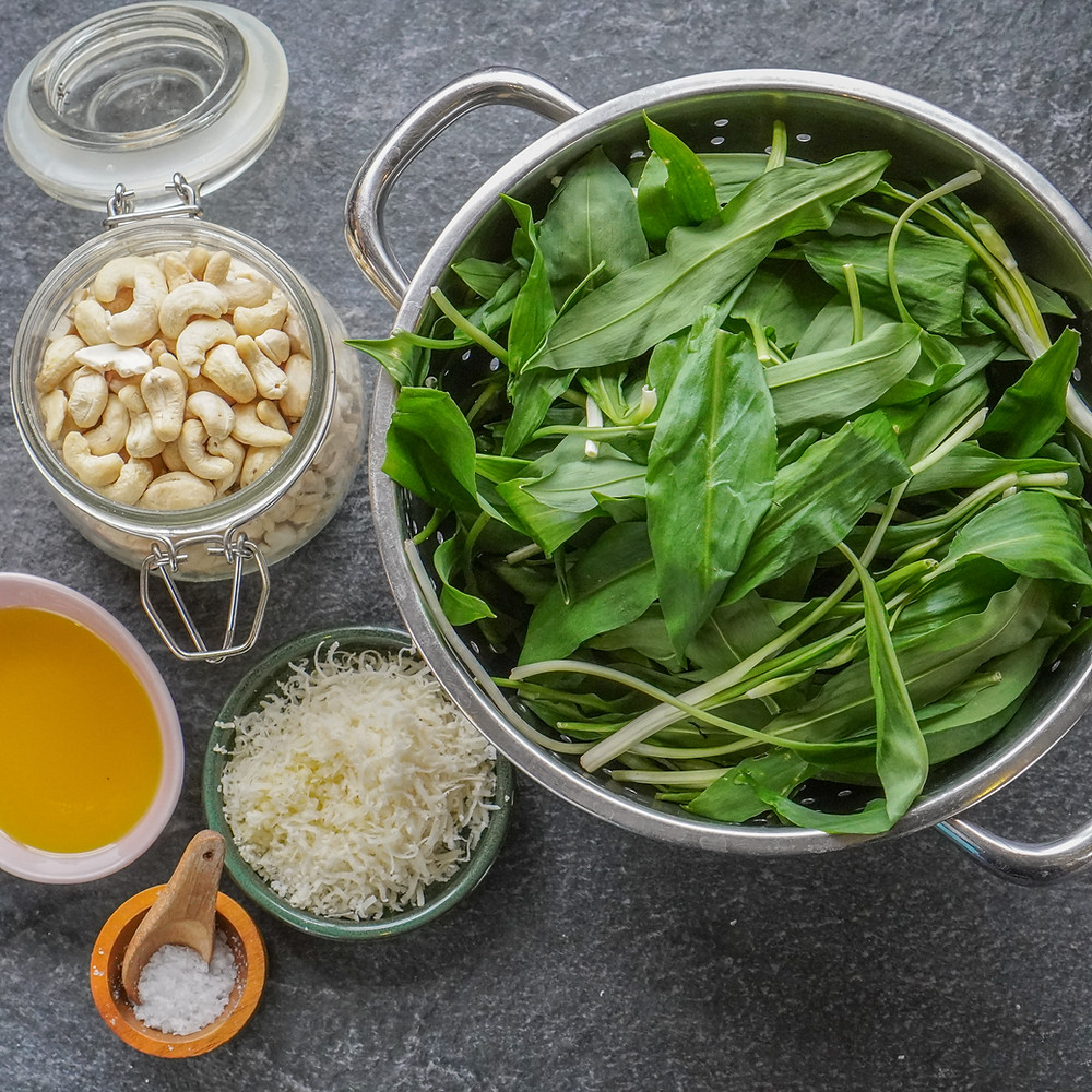 Wild garlic, cashews, parmesan and olive oil