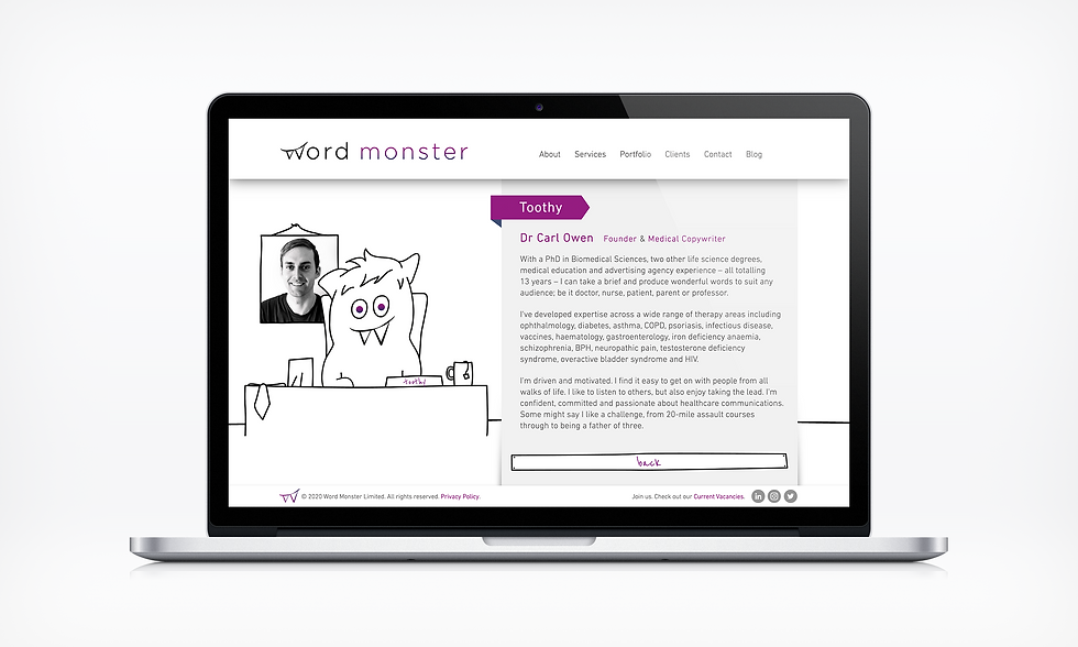 About toothy Word Monster Website UI designer barnsley