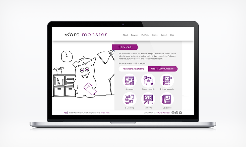 Services MedComms Word Monster Website UI designer barnsley