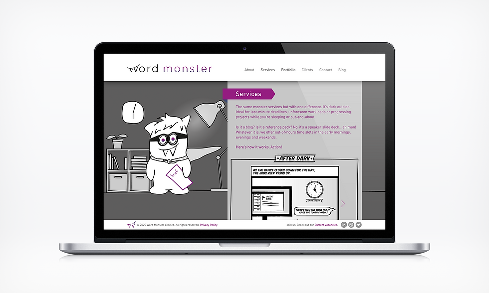 Services after dark Word Monster Website UI designer barnsley