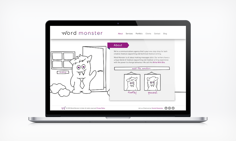 About Word Monster Website UI designer barnsley