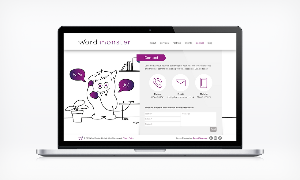 Contact Word Monster Website UI designer barnsley