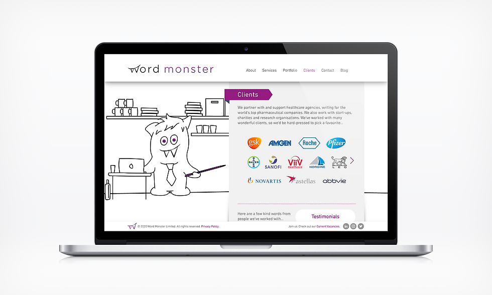 Clients Word Monster Website UI designer barnsley