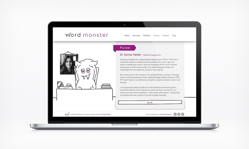 About punzel Word Monster Website UI designer barnsley