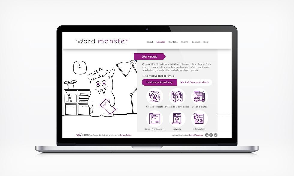 Services Healthcare Ad Word Monster Website UI designer barnsley