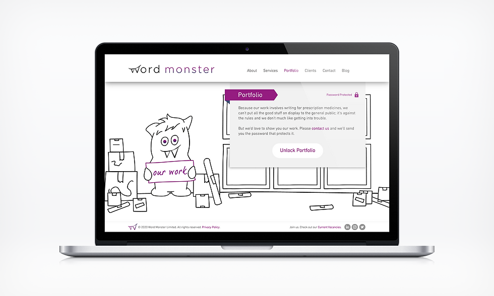 Portfolio Word Monster Website UI designer barnsley