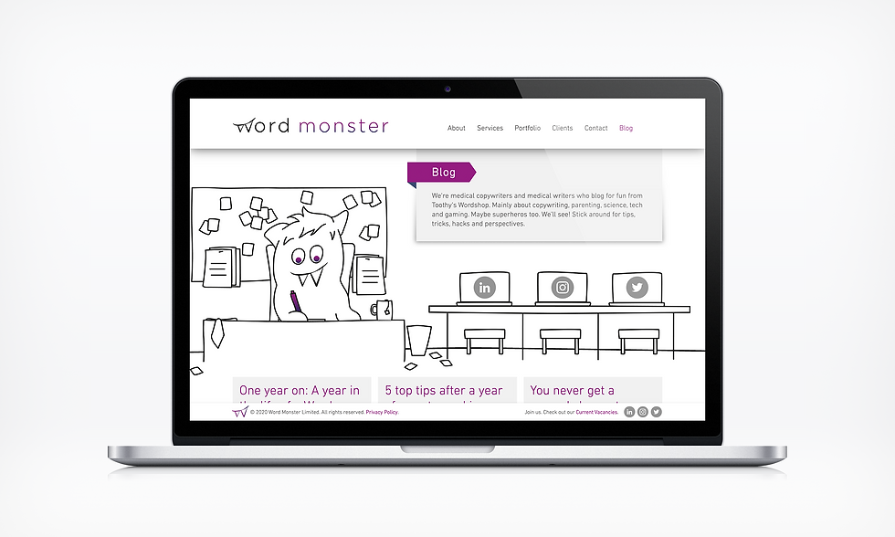 Blog Word Monster Website UI designer barnsley
