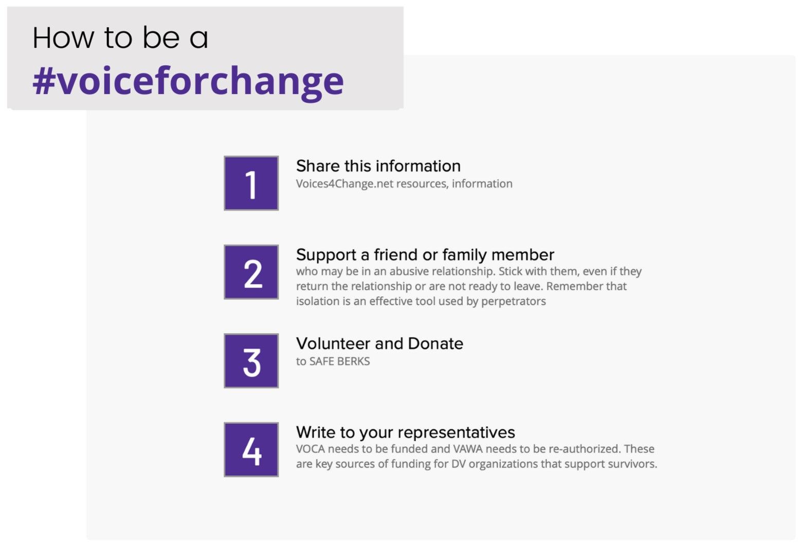 How to be a #voices4change