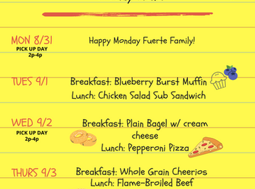Lunch Menu for the week of 8/31