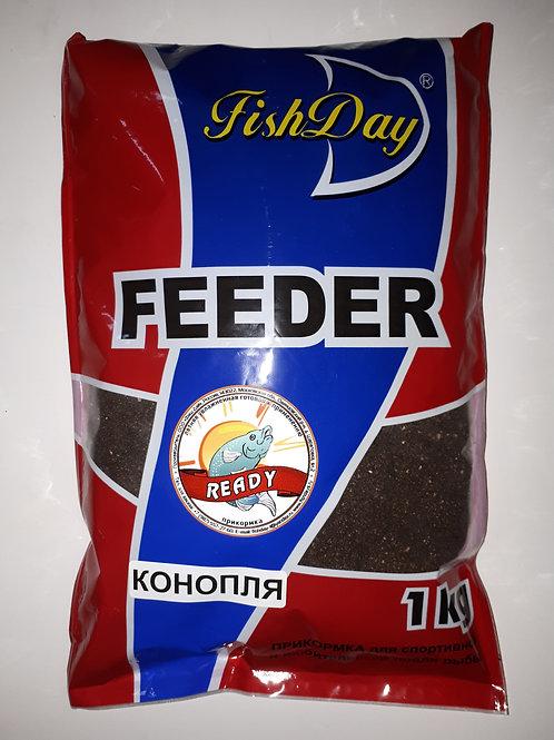 "ПРИКОРМКА ЛЕТНЯЯ ""FISH DAY""/ ""FEEDER""/""READY"" с мелассой- КОНОПЛЯ (1кг)"