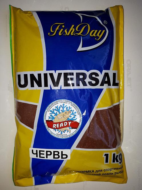 Прикормка зимняя увлажненная Fish Day / READY - UNIVERSAL -  ЧЕРВЬ (1кг)
