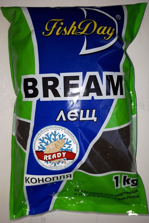 Прикормка зимняя увлажненная Fish Day / READY - BREAM / ЛЕЩ - конопля (1кг)»