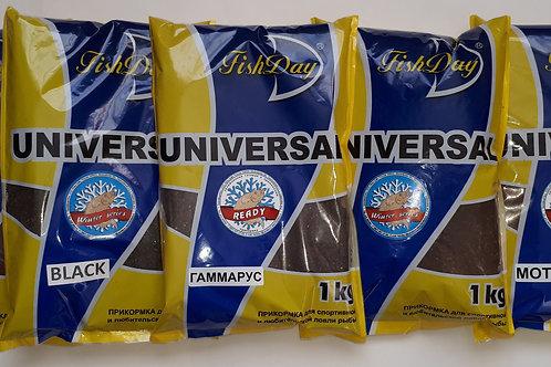 Прикормка зимняя увлажненная Fish Day / READY - UNIVERSAL -  БАЗА BLACK (1кг)