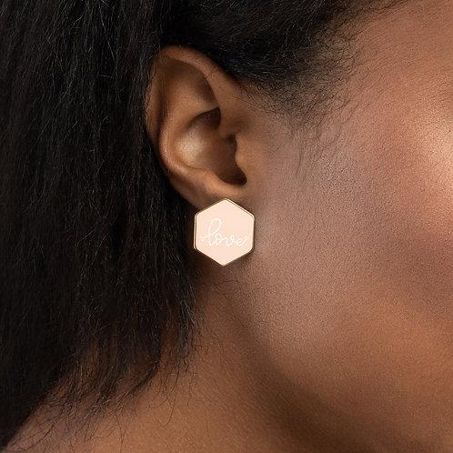 Beautiful Me Love Sterling Hexagon Stud Earrings
