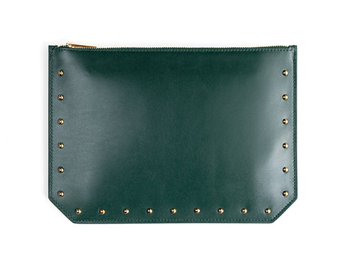 """Everyday"" pouch - Soft leather pine green"