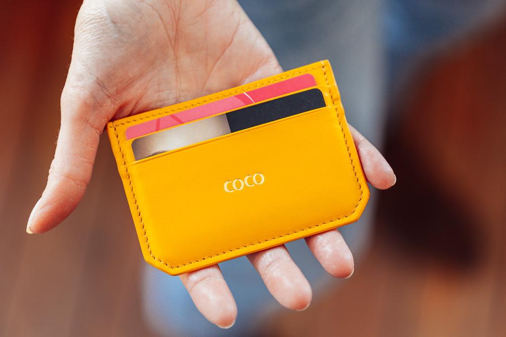 Porte cartes personnalise surnom coco couleur jaune curry