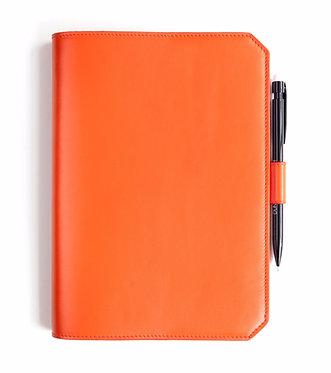 """Morning"" notebook - Soft leather sapphire orange"